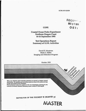 Primary view of object titled 'COPE Coastal ocean probe experiment Northern Oregon Coast 14-16 September 1995: Test Operations Report summary of Lawrence Livermore National Laboratory activities'.