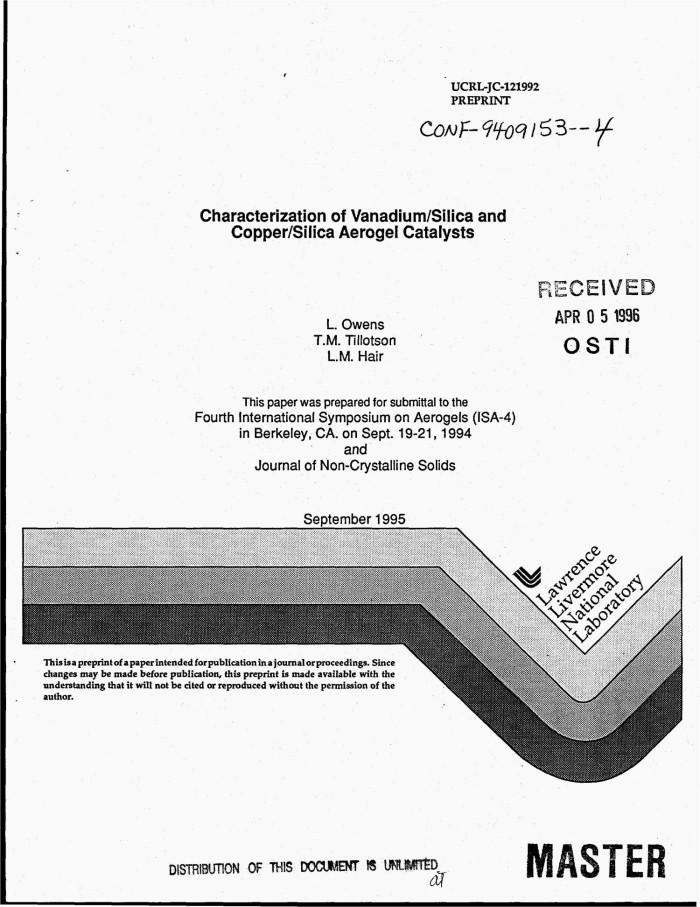 Characterization of vanadium/silica and copper/silica aerogel