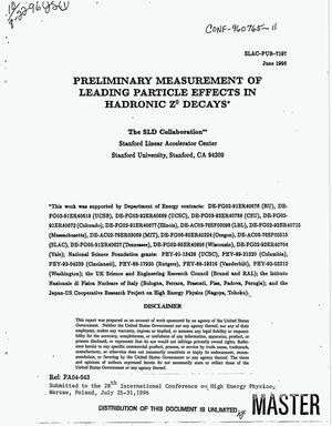 Primary view of object titled 'Preliminary measurement of leading particle effects in hadronic Z{sup 0} decays'.