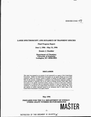 Primary view of object titled 'Laser spectroscopy and dynamics of transient species. Final progress report, June 1, 1986--May 31, 1996'.