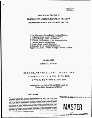 Primary view of object titled 'Reactor operations informal report, October 1994'.