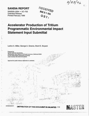Primary view of object titled 'Accelerator Production of Tritium Programmatic Environmental Impact Statement Input Submittal'.