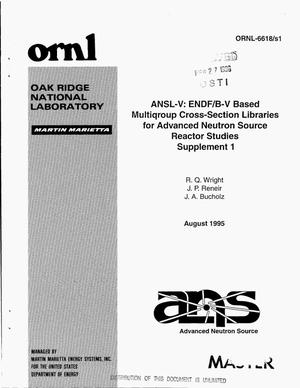 Primary view of object titled 'ANSL-V: ENDF/B-V based multigroup cross-section libraries for Advanced Neutron Source (ANS) reactor studies. Supplement 1'.