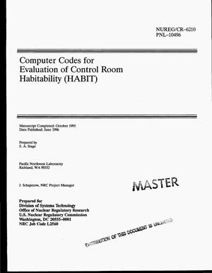 Primary view of object titled 'Computer codes for evaluation of control room habitability (HABIT)'.