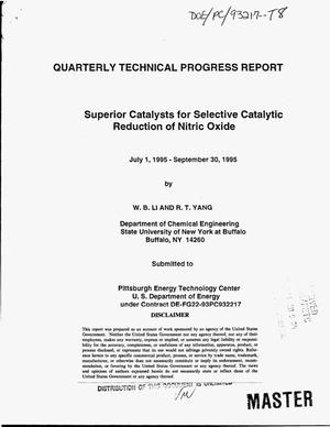 Primary view of object titled 'Superior catalysts for selective catalytic reduction of nitric oxide. Quarterly technical progress report, July 1, 1995--September 30, 1995'.