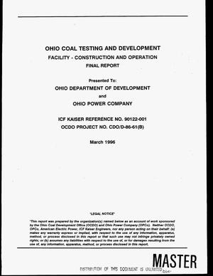 Primary view of object titled 'Ohio Coal Testing and Development Facility - Construction and operation. Final report'.
