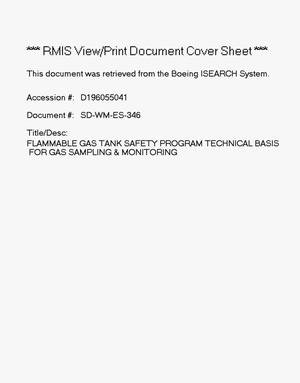 Primary view of object titled 'Flammable gas tank safety program: Technical basis for gas analysis and monitoring'.