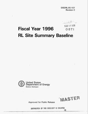Primary view of object titled 'Fiscal year 1996 U.S. Department of Energy, Richland Operations Office Site summary baseline'.