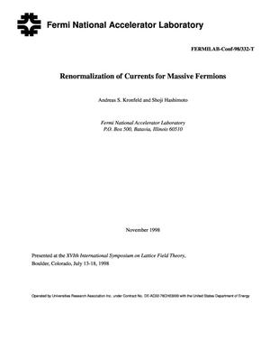 Primary view of object titled 'Renormalization of currents for massive fermions'.