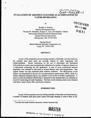 Primary view of object titled 'Evaluation of aqueous cleaners as alternatives to vapor degreasing'.