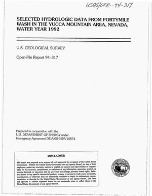 Primary view of object titled 'Selected hydrologic data from Fortymile Wash in the Yucca Mountain area, Nevada, water year 1992'.