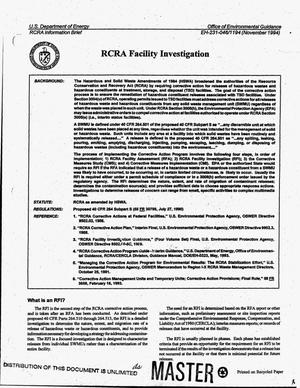Primary view of object titled 'RCRA facility investigation'.