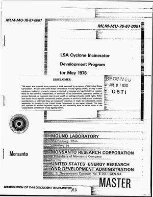 Primary view of object titled 'LSA cyclone incinerator development program for May 1976'.