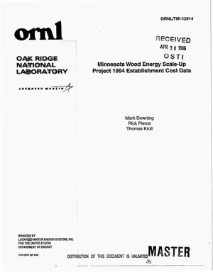 Primary view of object titled 'Minnesota wood energy scale-up project 1994 establishment cost data'.