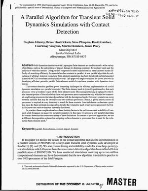 Primary view of object titled 'A parallel algorithm for transient solid dynamics simulations with contact detection'.
