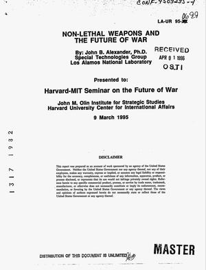 Primary view of object titled 'Non-lethal weapons and the future of war'.