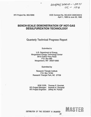 Primary view of object titled 'Bench-scale demonstration of hot-gas desulfurization technology. Quarterly technical progress report, April 1, 1995--June 30, 1995'.