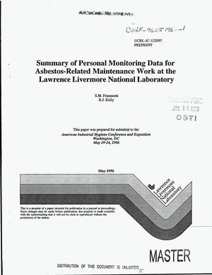 Primary view of object titled 'Summary of personal monitoring data for asbestos-related maintenance work at the Lawrence Livermore National Laboratory'.
