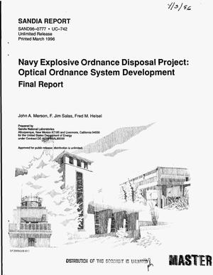 Primary view of object titled 'Navy explosive ordnance disposal project: Optical ordnance system development. Final report'.
