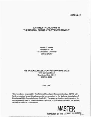Primary view of object titled 'Antitrust concerns in the modern public utility environment'.