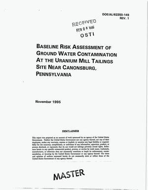 Primary view of object titled 'Baseline risk assessment of ground water contamination at the uranium mill tailings site near Canonsburg, Pennsylvania. Revision 1'.