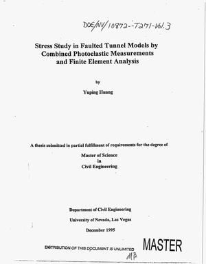 Primary view of object titled '[The Waste Package Project. Final report, July 1, 1995--February 27, 1996]: Volume 3, Stress study in faulted tunnel models by combined photoelastic measurements and finite element analysis'.