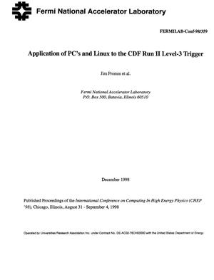 Primary view of object titled 'Application of PC's and Linux to the CDF Run II level-3 trigger'.