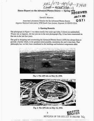 Primary view of object titled 'Status report on the advanced photon source: Spring 1994'.
