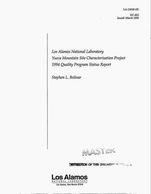 Primary view of object titled 'Los Alamos National Laboratory Yucca Mountain Site Characterization Project 1994 quality program status report'.