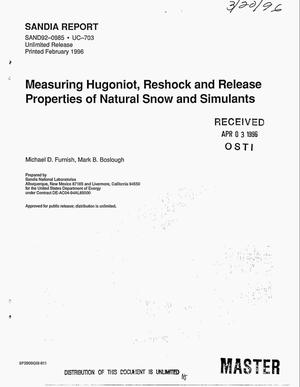 Primary view of object titled 'Measuring Hugoniot, reshock and release properties of natural snow and simulants'.