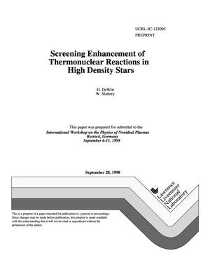 Primary view of object titled 'Screening enhancement of thermonuclear reactions in high density stars'.