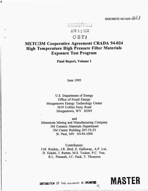 Primary view of object titled 'METC/3M Cooperative Agreement CRADA 94-024 high temperature high pressure filter materials exposure test program. Volume 1, Final report'.