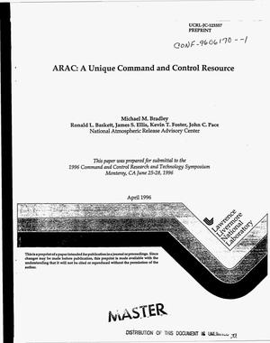 Primary view of object titled 'ARAC: A unique command and control resource'.