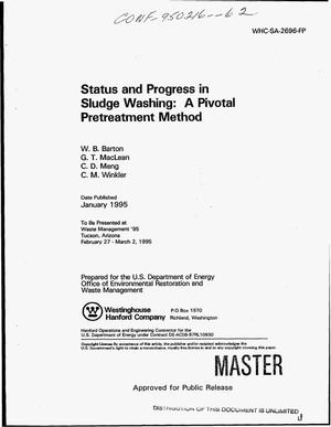 Primary view of object titled 'Status and progress in sludge washing: A pivotal pretreatment method'.