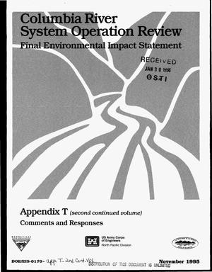 Primary view of object titled 'Columbia River System Operation Review : Final Environmental Impact Statement, Appendix T (Second Continued Volume): Comments & Responses.'.