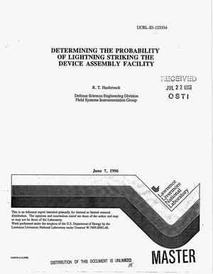 Primary view of object titled 'Determining the probability of lightning striking the Device Assembly Facility'.