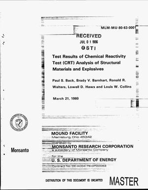 Primary view of object titled 'Test results of chemical reactivity test (CRT) analysis of structural materials and explosives'.