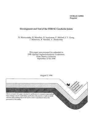 Primary view of object titled 'Development and test of the ITER SC conductor joints'.