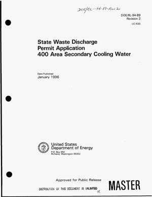 Primary view of object titled 'State waste discharge permit application 400 Area secondary cooling water. Revision 2'.