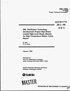 Primary view of object titled 'PNL vitrification technology development project high-waste loaded high-level waste glasses for high-temperature melter: Letter report'.