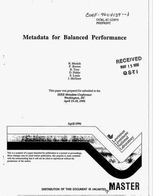Primary view of object titled 'Metadata for balanced performance'.