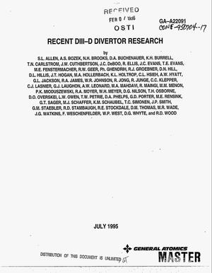 Primary view of object titled 'Recent DIII-D divertor research'.