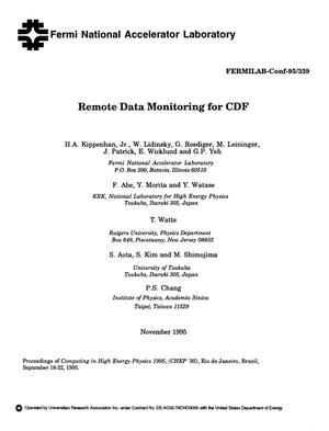 Primary view of object titled 'Remote data monitoring for CDF'.