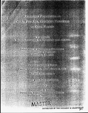 Primary view of object titled 'Radiative properties of char, fly-ash, and soot particles in coal flames. Technical progress report, December 15, 1994--March 30, 1995'.