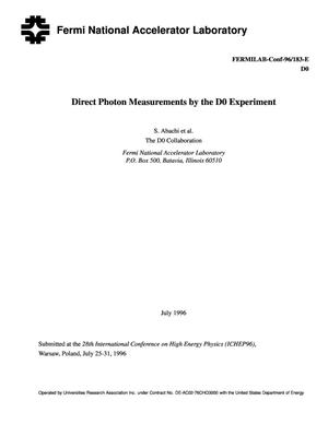 Primary view of object titled 'Direct photon measurements by the D{O} experiment'.