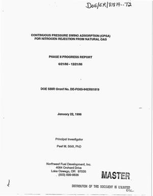 Primary view of object titled 'Continuous pressure swing adsorption (CPSA) for nitrogen rejection from natural gas. Phase II. Progress report, June 21, 1995--Decemeber 21, 1995'.