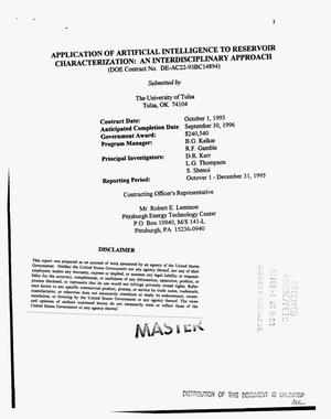 Primary view of object titled 'Application of artificial intelligence to reservoir characterization: An interdisciplinary approach. [Quarterly technical progress report], October 1--December 31, 1995'.