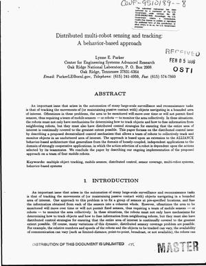 Primary view of object titled 'Distributed multi-robot sensing and tracking: a behavior-based approach'.