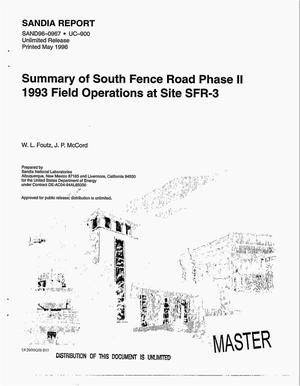 Primary view of object titled 'Summary of South Fence Road phase II 1993 field operations at site SFR-3'.