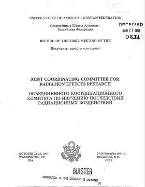 Primary view of object titled 'Record of the first meeting of the Joint Coordinating Committee for Radiation Effects Research'.